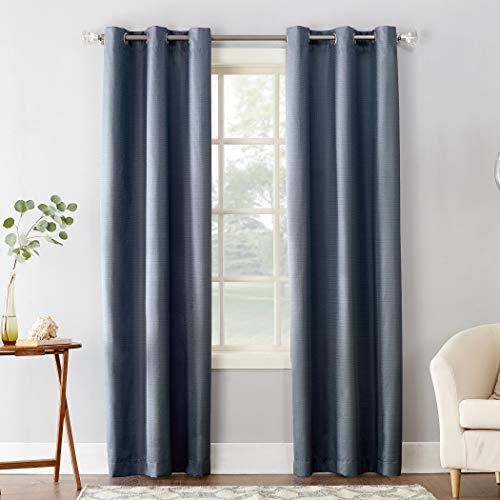 "Sun Zero Cooper Thermal Insulated Room Darkening Grommet Curtain Panel, 40"" x 84"", Blue"
