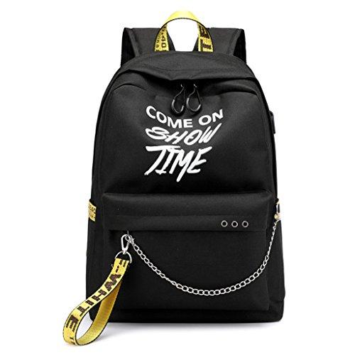 Backpack Luminous Travel for Teens Shopping Polyester GUBENM Outdoor Backpack USB Charger yellow Rucksack Black Letters Shoulder Waterproof Bags for Belt Satchel School Laptop Bag Women wxqIY7IP