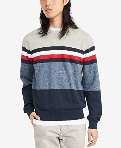 Tommy Hilfiger Men's Cotton Crew Neck Sweater, Sport Grey Heather/Navy Blazer, Medium