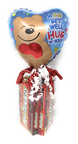 Get Well Balloon Bouquets (KelliLoons Get Well Theater Box Candy Bouquet with Balloon and Hot Tamales Candy)