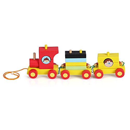 Pull Along Toys Wooden Train Set for Toddlers - Stacking Wooden Educational Toys for Kids by NimNik (Thing 1 And Thing 2 Costume Ideas)