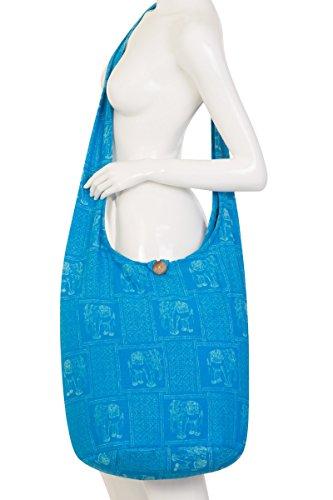 nbsp;– flores Blue diseño Tailandés Indic Bolsa bolsa de hombro de Sky Gypsy mano bolso Hippie de de 2 nbsp;100 algodón viaje Sling Boho EUUqB