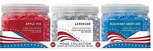 Smells Begone Odor Eliminator Gel Beads - Air Freshener - Home Collection Holiday Patriot Pack - 3 Pack - Apple Pie - Lemonade - Blueberry Shortcake - 12 Ounce ()