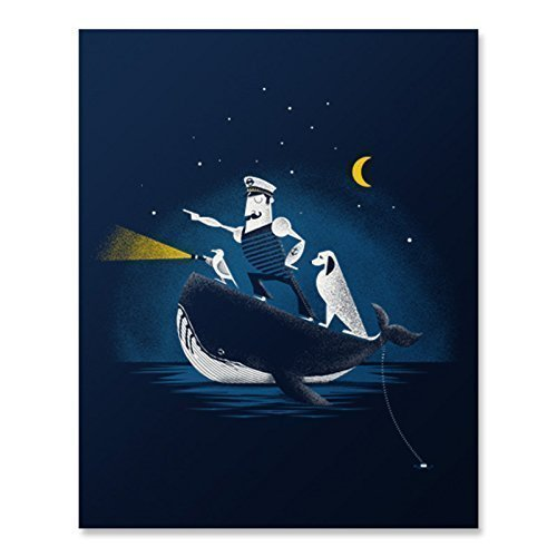Whale Nautical Sailor Art Print Vintage Navigating Sea Captain Ocean Poster Cute Dog Seagull Bird Ship Boat Navy Home Decor 8 x 10 - Nautical Prints Antique