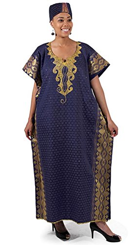Inspired African Dresses (George Fabric Viscose Rayon Caftan Kaftan With Matching Cap - Several Colors (Blue))