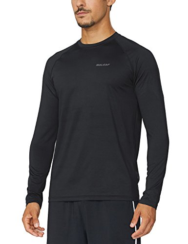 Baleaf Men's Cool Running Workout Long Sleeve T-Shirt Black Size L