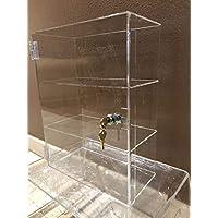 "305 Displays Acrylic Lucite Countertop Display Showcase Cabinet 12"" x 7"" x 19""h 2 Shelves w/Door and Lock"
