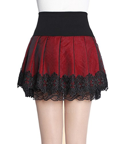 Mullsan Women Red Spinning Cover Stretch Waist Flared Lace Casual Mini Skirt (Large)