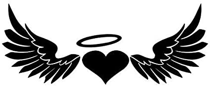 CMI NI583 Angel Wings Halo Decal Premium Quality White Vinyl Decal 5.75-Inches