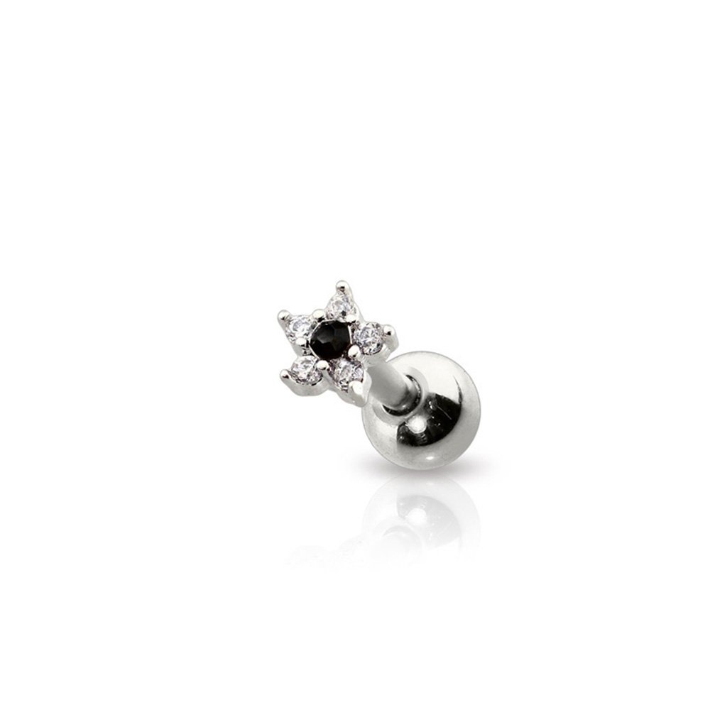 Sold Per Piece Dynamique 316L Surgical Steel Cartilage Barbel with Mini Flower CZ Bezel Top