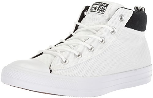 Converse Men's Street Nylon Mid Top Sneaker, White/Black/White, 11 M US