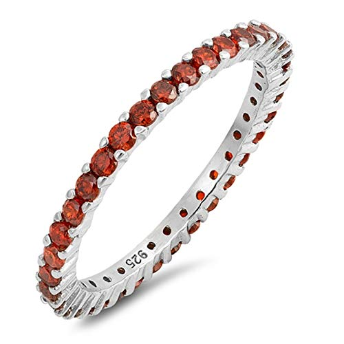 - Blue Apple Co. Full Eternity Stackable Wedding Band Ring Simulated Garnet 925 Sterling Silver,Size-9