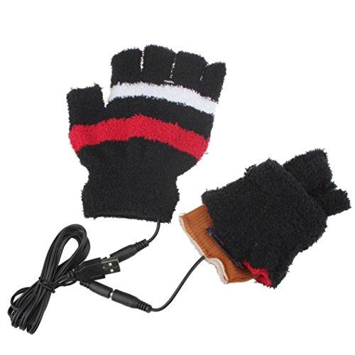 Bravco HOT Selling Women Girls Winter Warm USB Heating Hand Gloves Heated Fingerless Warmer Mitten (Black) (Freezing Anime Box Set compare prices)