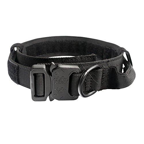 GrayCell Adjustable Dog Collar Tactical Nylon Military Training Dog Collar With D-ring Handle Metal Buckle for Medium Large Dogs (M, ()