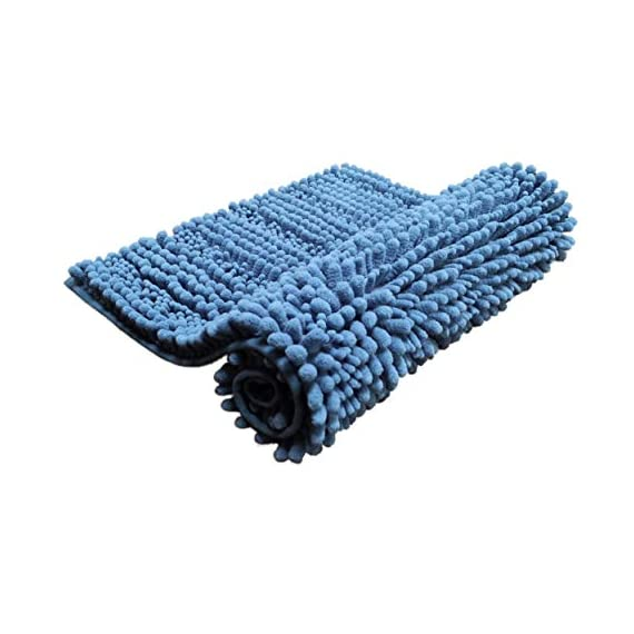 Polyte Premium Microfiber Shaggy Chenille Bath Mat Non Slip, 20 x 32 in / 17 x 24 in, Set of 2 (Blue) - Experience the plush and super soft feeling of our microfiber shag bath mat Ultra-absorbent chenille microfiber captures water, preventing a slippery wet floor Keeps your feet comfortable, cozy, and protected from the hard cold floor - bathroom-linens, bathroom, bath-mats - 41HMq4khYZL. SS570  -