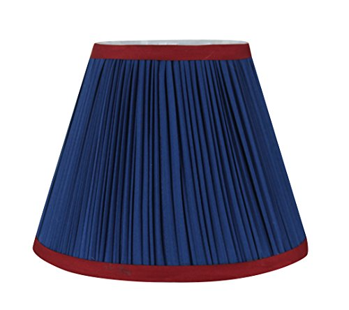 Urbanest Mushroom Pleated Softback Lamp Shade, Faux Silk, 5-inch by 9-inch by 7-inch, Navy Blue with Burgundy Trim, Spider-fitter - Blue Pleated Floor Lamp
