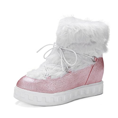 GIY Womens Fashion Light Snow Ankle Boots Fur Lined Outdoor Lace Up Winter Warm Hidden Heels Snow Boot Pink RYgqS