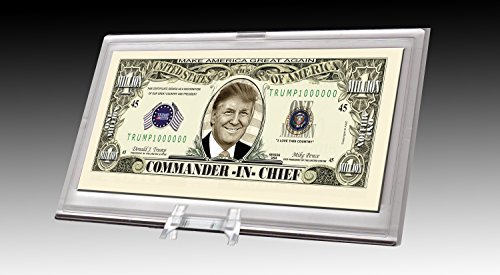Price comparison product image Donald Trump Commander in Chief Limited Edition Collectible Bill in Desktop Currency Stand - Best Desk Top Accessory Gift - Make America Great Again