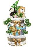 Gender Neutral 3-Tier Safari Diaper Cake - Baby