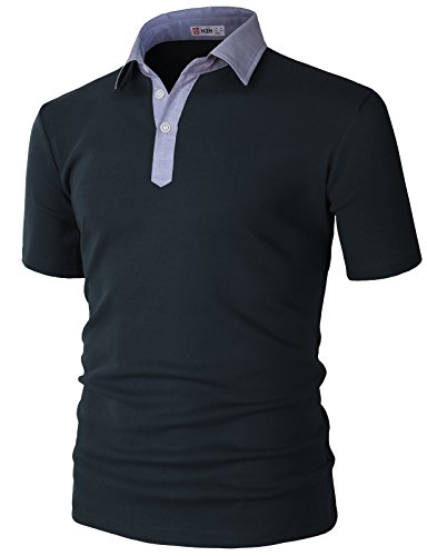 H2H Mens Casual Slim Fit Polo Navy US M/Asia L (KMTTS0562)