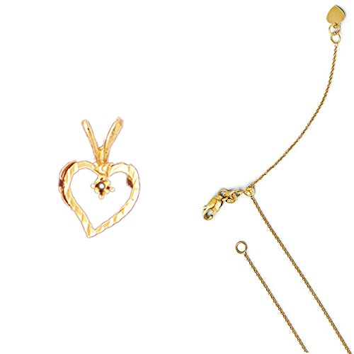 14K Yellow Gold Heart with Mounting Pendant on an Adjustable Round Cable Chain Necklace, (14k Yellow Gold Mens Mounting)