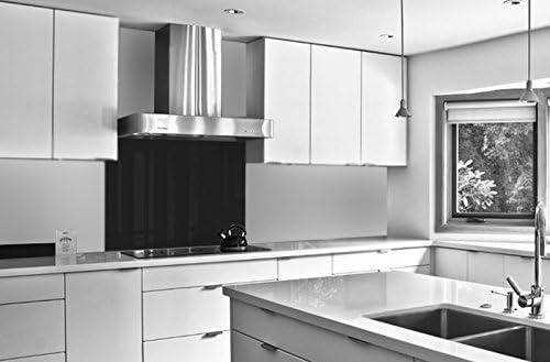 Compra Vidriopanel Panel DE Vidrio A Medida Cocina/Cristal de Protección Salpicaduras para frentes de cocinas (Fabricado A Medida, Negro) en Amazon.es