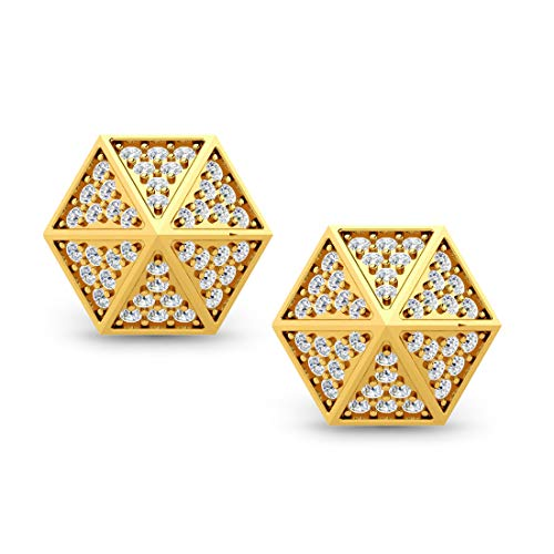 Ashne Jewels IGI certified 0.43 Carat Round-Shape Natural Diamond (G-H Color, I1-I2 Clarity) 14K Yellow Gold Stud Earrings for women
