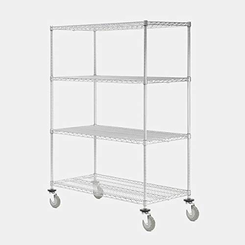 Wire Storage Rack with Casters - Shelving Unit with 4 Adjustable Shelves - Stainless Steel