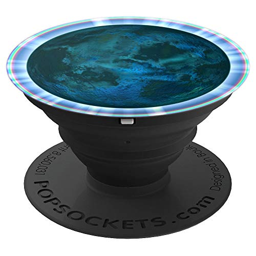 (Artistic Dark Planet Earth Globe Space Rainbow Prism Border - PopSockets Grip and Stand for Phones and Tablets)
