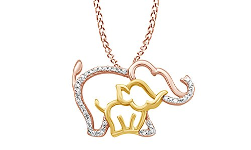 AFFY White Natural Diamond Mother Baby Elephant Pendant Necklace in 10K Solid Gold