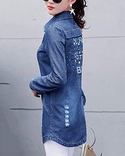 Blau Strappato Transizione Manica Donna Con Giovane Bavero Autunno Cerniera Tasche Elegante Single Outerwear Giorno Anteriori Lunga Jeans Giacca Women Di Moda Breasted Casual Giacche SqwxgA8Uw