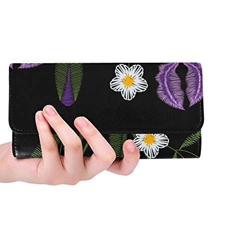 Unique Custom Iris Flowers With Chamomile Embroidery Vector Fas Women Trifold Wallet Long Purse Credit Card Holder Case Handbag