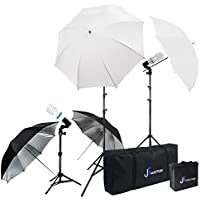 Julius Studio Photography Video Studio Portrait Lighting Kit, White & Black Umbrella Reflector, Continuous Bulb & Socket with Umbrella Insert, Light Stand Tripod, Carry Bag, Photo Studio, JSAG284