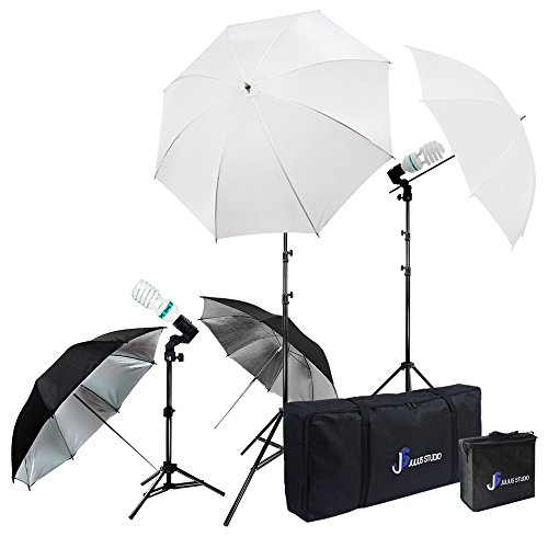 Julius Studio Photography Video Studio Portrait Lighting Kit, White & Black Umbrella Reflector, Continuous Bulb & Socket with Umbrella Insert, Light Stand Tripod, Carry Bag, Photo Studio, JSAG284V2 by Julius Studio