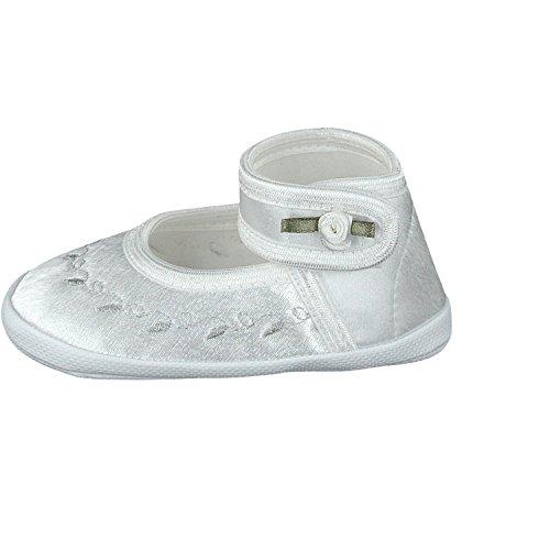Omnia-Baby Festliche Babyschuhe Taufschuhe Lauflernschuhe Kinderschuhe, Satin, Spitzenstoff Weiß-Muster