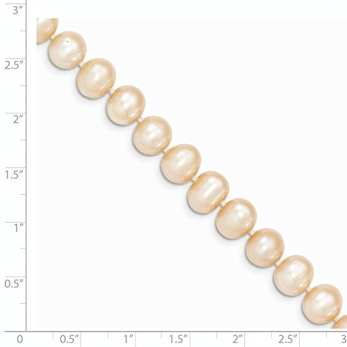14k Yellow Gold 20in 8-9mm Pink Egg Shape Freshwater Cultured Pearl Necklace