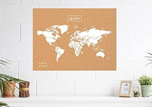 Miss Wood Map L, Mapa del Mundo de Corcho, 45 x 60 cm, Natural/ Blanco
