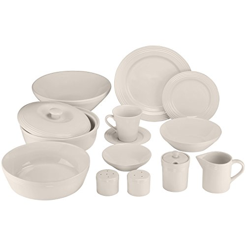- 10 Strawberry Street Atlas 45 Piece Dinnerware Set, Cream