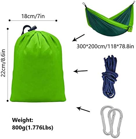 Portable Camping Hammock, Double Hammock with Tree Straps, Lightweight Nylon 2 Person Hammock for Adults Kids, Camping Accessories Gear for Backpacking,Travel, Beach, Indoor Yard and Outdoor Survival