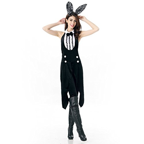 Playgirl Bunny Halloween Costumes (Honeystore Women's Adult Tuxedo Bunny Halloween Costume Cosplay Outfits)