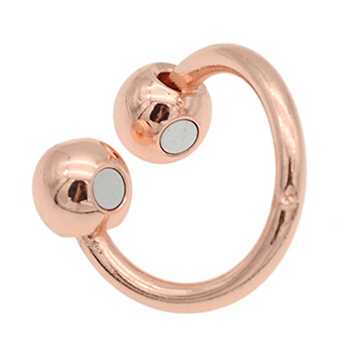 Qlychee Rose Gold Copper Finger Ring Magnet Healing Ring Pain Therapy Gift 1 Pc