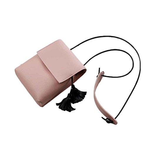 Mengonee Bolso del teléfono de cuero de la PU de la borla de las mujeres mini bolsos de hombro Bolso del teléfono móvil Bolso de mensajero de las señoras pequeño Rosado