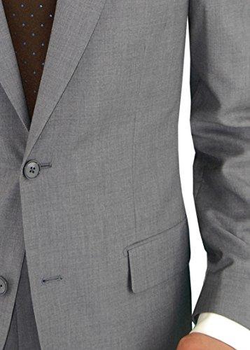 """Salvatore Exte Men's Suit Two Button Side Vent Jacket Flat Front Pants (36 Short US / 46S EU / W 30"""", Gray)"""