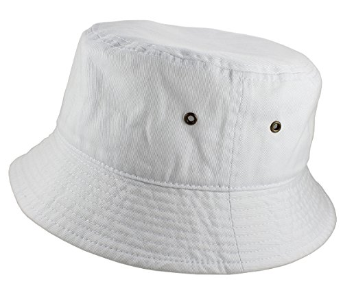 Gelante 100% Cotton Packable Fishing Hunting Sunmmer Travel Bucket Cap Hat 1900-White-L/XL -