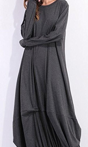Dress Solid Evening Long Dark Coolred Grey Neck Women Party Plus Scoop Size Sleeve vwxHS5qg