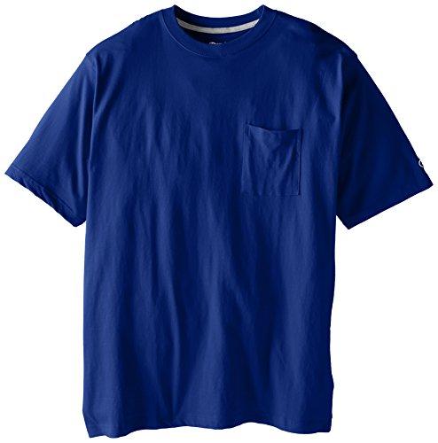 Heavy Cotton Pocket - Champion Men's Big-Tall Jersey Pocket T-Shirt, Royal, 3X