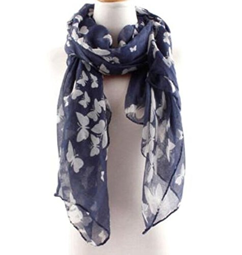 JIKUO Graceful Soft Butterfly Scarf Shawl Neck Wrap Headscarf for Women