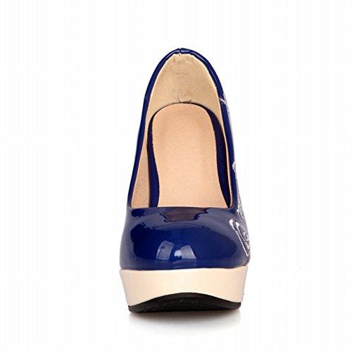 MissSaSa Damen high heel Plateau Lackleder Pumps Blau