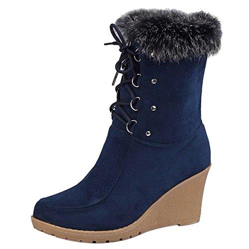 RAZAMAZA Women Winter Wedge Boots Lace Up Blue