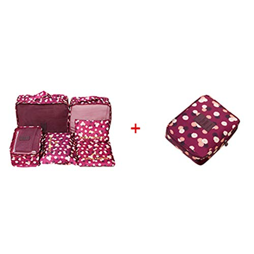 (Travel Beauty Cosmetic Make Up Lady Wash Duffle Bag Set Toiletry Storage Camping Clothes Shoes Underwear Suitcase Supply Wine Red Flower)